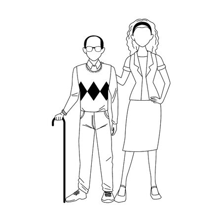 old man and woman standing icon over white background, vector illustration