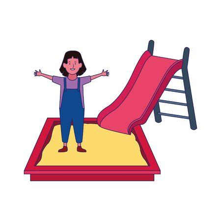 happy girl in sandbox and slide over white background, vector illustration