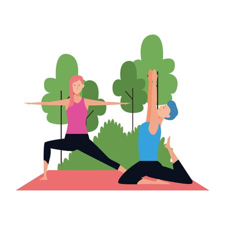 young man and woman practicing yoga at outdoors over white background, vector illustration Ilustracja