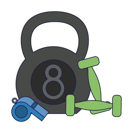 Kettlebell wwith dumbbells and whistle Designe Vector Illustratie