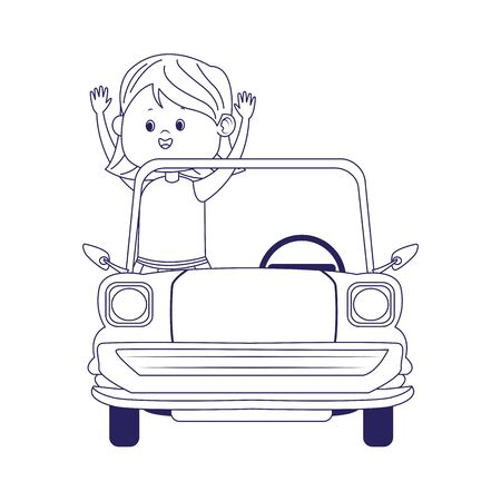 classic car with happy girl icon over white background, flat design, vector illustration 向量圖像
