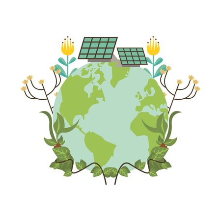 world planet earth with flowers garden and solar panels vector illustration design
