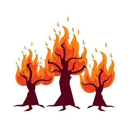 fire forest dry global warming scene vector illustration design Illustration