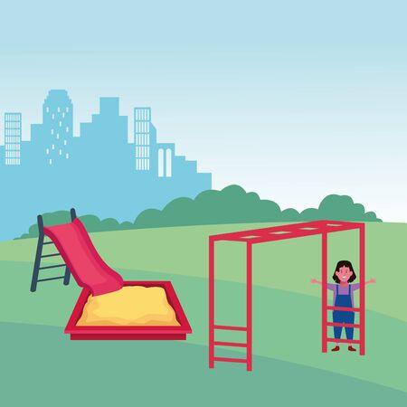 kids zone, happy girl with slide sandbox and monkey bars playground vector illustration Stock Vector - 141860386