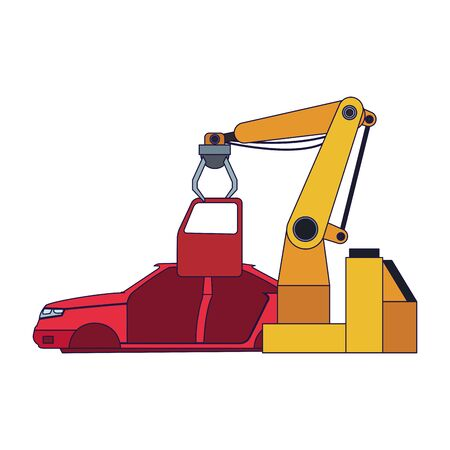 robotic arm fixing a car body over white background, vector illustration