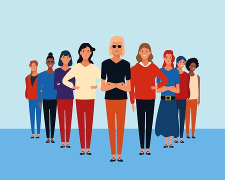 Young people over blue background vector illustration graphic design