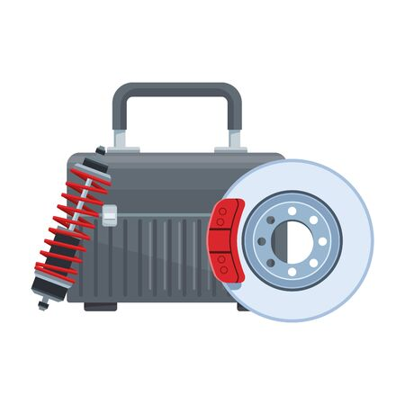 tools box with car brake disc and shock absorber over white background, vector illustration