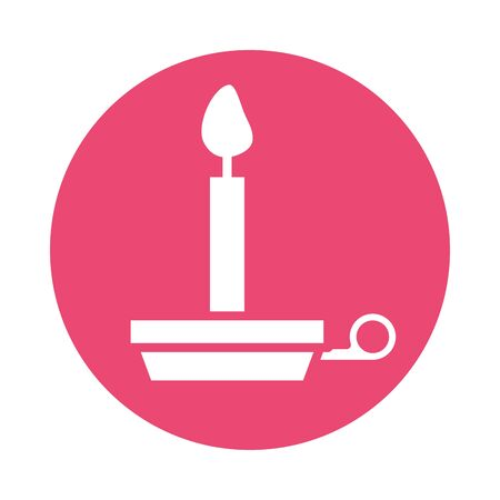 candle fire flame block style icon vector illustration design