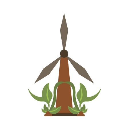 wind power turbine with leaves vector illustration design