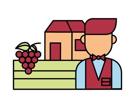 waiter restaurant server character icon vector illustration design