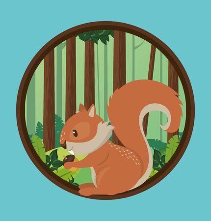 cute chipmunk rodent animal character vector illustration design