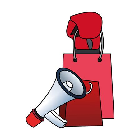 shopping bag and megaphone over white background, colorful design, vector illustration Illustration