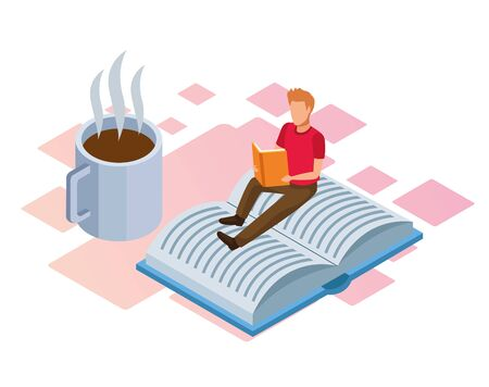 coffee mug and man reading sitting on a book over white background, isometric and colorful design, vector illustration