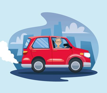 man in car polluting scene vector illustration design