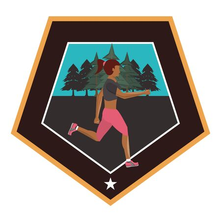 afro woman running at night in the field scene vector illustration design