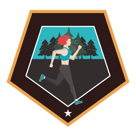 young woman running at night in the field scene vector illustration design