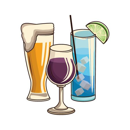 beer glass and cocktails glasses over white background, vector illustration