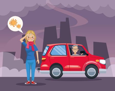 man in car polluting and girl sick scene vector illustration design Ilustracja