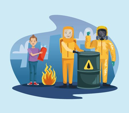 workers with industrial suit and boy using fire extinguisher vector illustration design