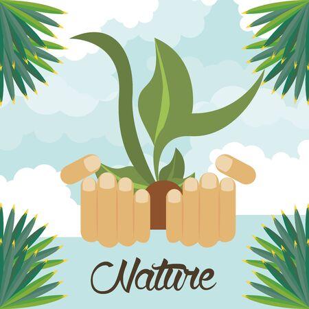 hands lifitng plant ecology cultivating vector illustration design