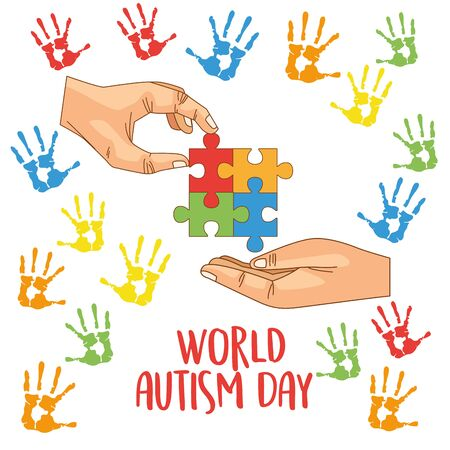 world autism day with hands playing puzzle vector illustration design