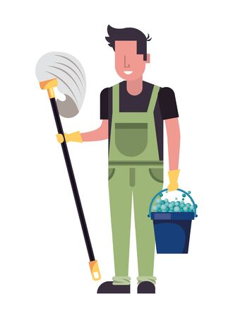 housekepping male worker with mop character vector illustration design 向量圖像