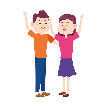 cartoon teen couple with arms up over white background, vector illustration