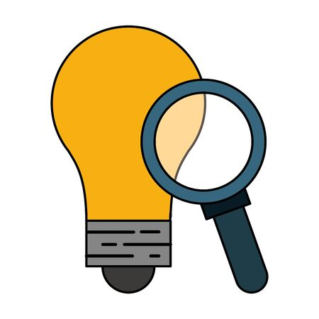 Bulb light and magnifying glass symbols vector illustration graphic design