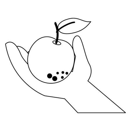 hand holding orange cartoon isolated vector illustration graphic design  イラスト・ベクター素材