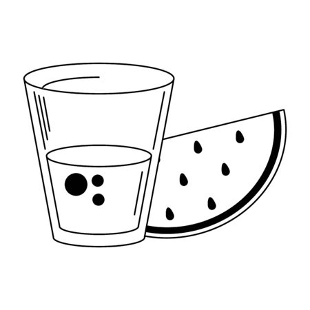Watermelon juice cup with fruit vector illustration graphic design  イラスト・ベクター素材