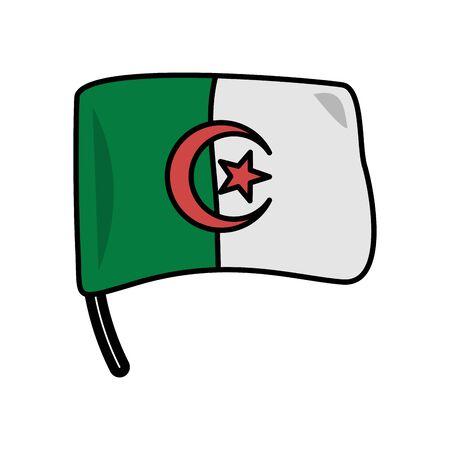 algeria flag country isolated icon vector illustration design