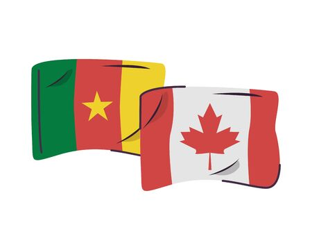 cameroon and canada flags countries isolated icon vector illustration design