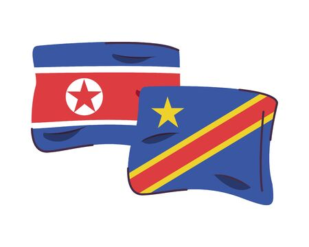 north korea and congo drflags countries isolated icon vector illustration design