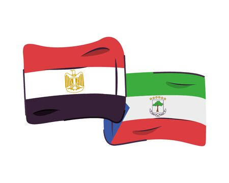 equatorial guinea and egypt flags countries isolated icon vector illustration design