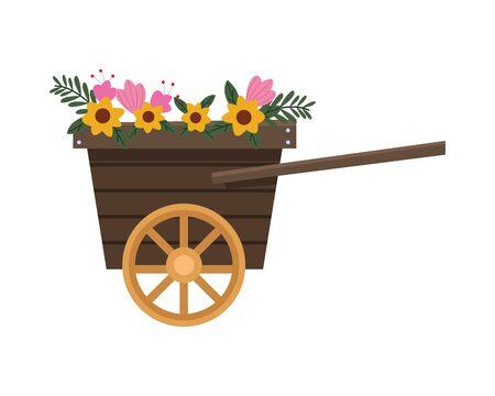 flowers garden in cart easter vector illustration design Ilustração