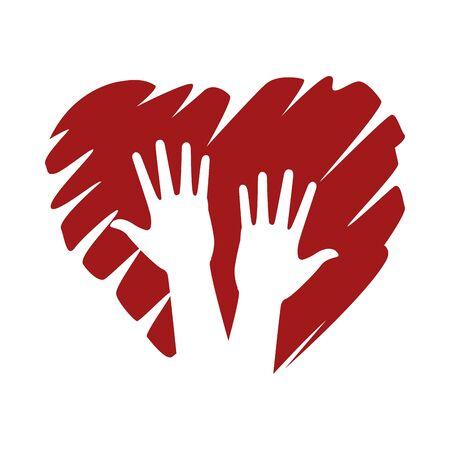 interracial hands human with heart vector illustration design