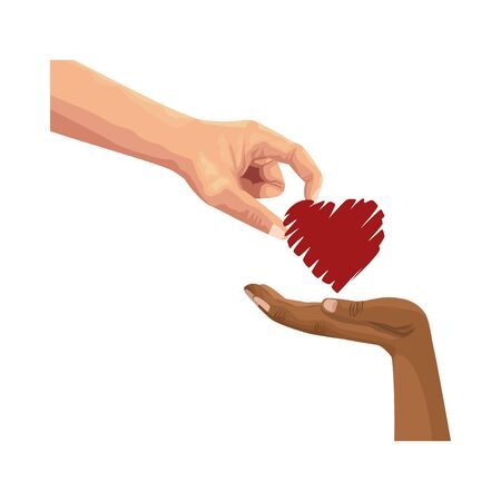 interracial hands human with heart vector illustration design