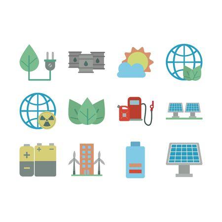 bundle of energy set icons vector illustration design