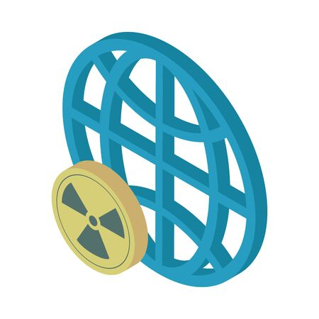 nuclear symbol caution with sphere planet vector illustration design
