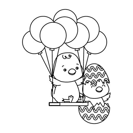 cute little chicks in egg shell painted and balloons helium vector illustration Illusztráció