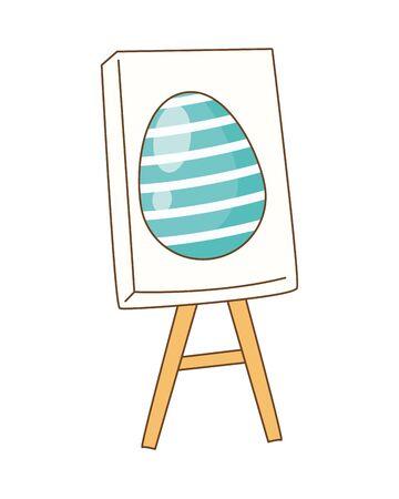 egg painted in paperboard easter decoration vector illustration design