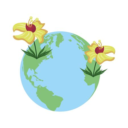 world planet with exotic and tropical flowers nature icon vector illustration design 일러스트