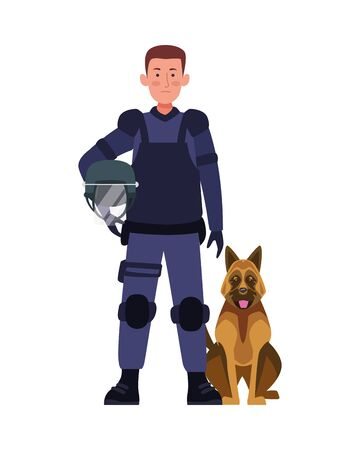 riot police with dog character vector illustration design