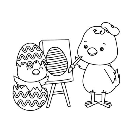 cute little chicks painting egg easter characters vector illustration design