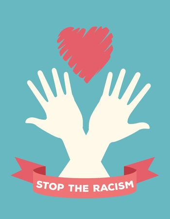 interracial hands with heart stop racism campaign vector illustration design