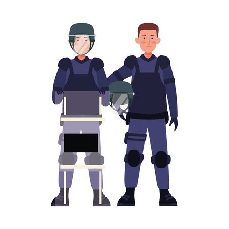 couple of riot polices with uniforms characters vector illustration design