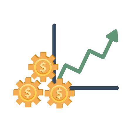 financial statistics graphic with gears dollars vector illustration design Vettoriali