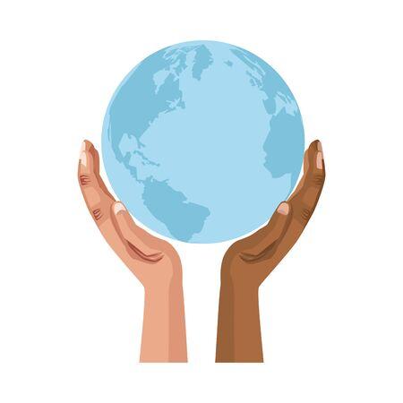 interracial hands human lifting the planet earth vector illustration design Illustration