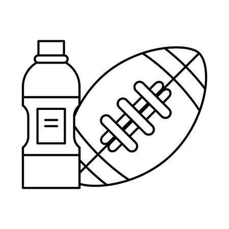 american football sport balloon with bottle drink vector illustration design