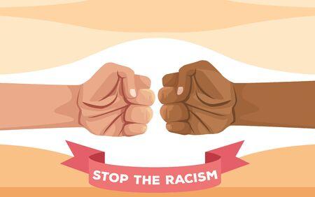 interracial hands fist stop racism campaign vector illustration design
